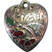 Vintage Sterling Silver c1940s Enamel Puffy Heart Charm with Flowers and a Butterfly