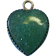 Vintage Sterling Silver Green Sparkle Stone Heart Charm