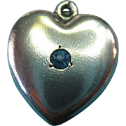 "Vintage Sterling Silver 1940s  Blue Rhinestone Puffy Heart Charm ""Mother"""