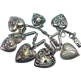 Victorian Sterling Puffy Hearts Charms & Bracelet - Three French Hearts