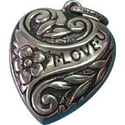 "Vintage Sterling 1940's ""I Love U"" Puffy Heart Charm"