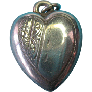 Vintage English Sterling Silver Etched Puffy Heart Charm