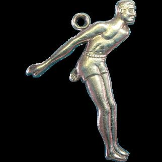 Vintage Sterling Silver Male Diver Charm