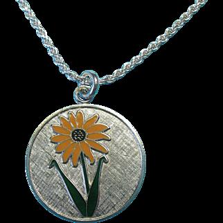 """Vintage Sterling Silver Enameled  """"Black-eyed Susan"""" Floral Charm Pendant Necklace"""
