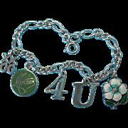 """Vintage Sterling Silver Rebus """"Mother 4U"""" Enamel Charm Bracelet"""