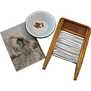 Antique Dolls Miniature Handmade Wood and Tin Washboard with Enamel Metal Bowl