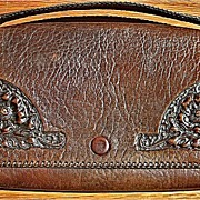 Justin and Co. Arts and Crafts Tooled Leather Clutch-Poppies-original paper card