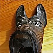 Carved Wood Scottie Dog Pourer/Stopper
