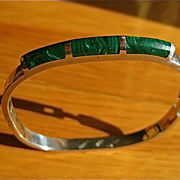 Malachite and Sterling Silver Hinged Bracelet-Taxco