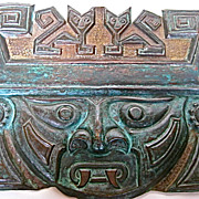 Copper Repousse Aztec God Tlaloc