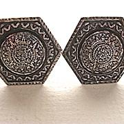 Sterling Mayan Aztec Calendar Hexagonal Cufflinks Eagle 52