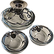 Danish Sterling and Swedish Crystal Three Pc. Centerpiece DGH
