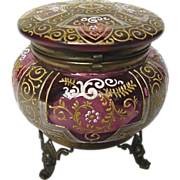 Moser Cranberry Glass Round Box with Bronze Mounts and Carrier