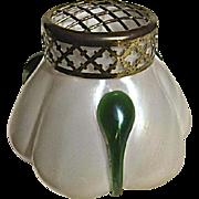Kralik MOP Glass Vase with Green Tadpole Design
