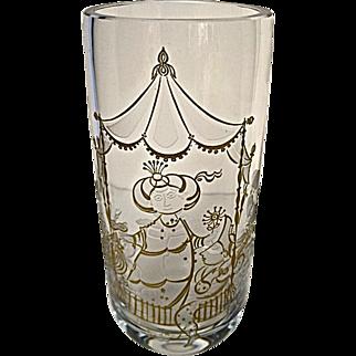 Bjorn Wiinblad Commedia Dell Arte Etched Crystal Art Glass Vase