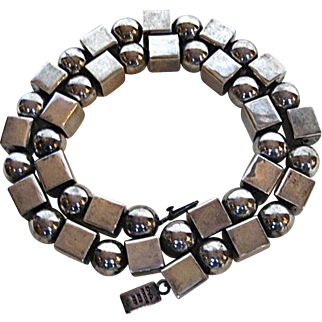 Hvy. Sterling Silver Cubes and Balls Necklace