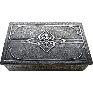 Arts and Crafts Silvered Bronze w Sterling Overlay Box