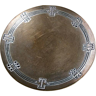 Arts and Crafts Sterling on Bronze Overlay Plate