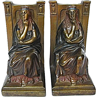 Pair of Armor Bronze Polychrome Bookends Silence