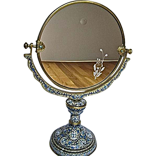 Chinese Champleve Cloisonne Tilt Mirror