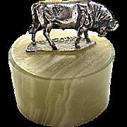 Sterling Silver Bull on Onyx Giuseppe Vasari for Gorham