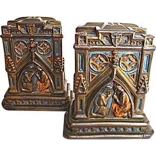 Pair of Bronze/Copper Clad Polychrome Bookends Mary and Joseph Praying