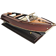 Wood Model Runabout Deluxe Double Cockpit Dual Propellers on Stand