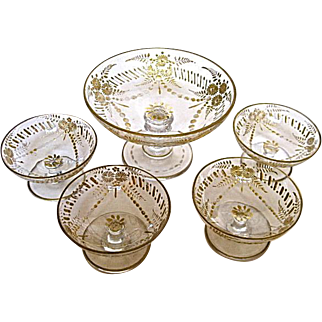 Moser Berry Set Compote and 4 Bowls