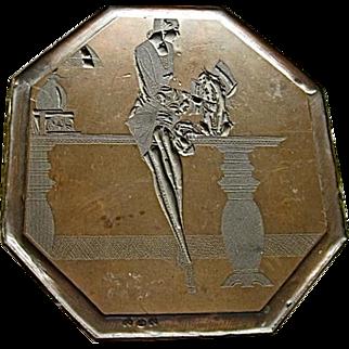 Gargoyle and Lady Art Deco Original Copper Etching Plate
