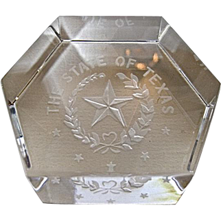 Baccarat Crystal State of Texas Intaglio Paperweight