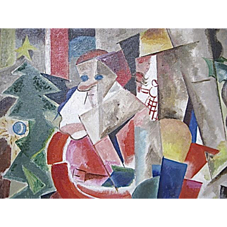 Cubist Santa Oil Painting Chester Snowden 1900-1984