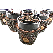 Set of 6 Ruhrglass Germany Tree Trunk Shot Glasses