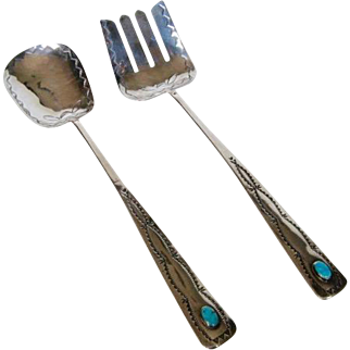 Native American Sterling Silver and Turquoise Serving Set