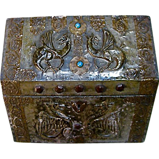 Alfred Daguet Art Nouveau Repousee Jeweled Griffin Box