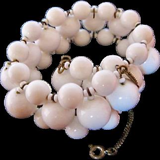 Miriam Haskell White Milk Glass Bracelet