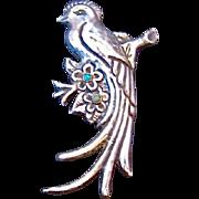 Mexico Silver Bird Quetzal Pin