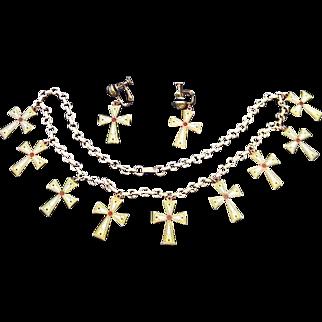 Cloisonne Enamel on Copper Cross Necklace w Matching Earrings
