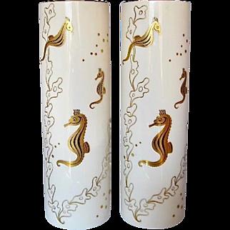 Pair of Lenox Bone China Seahorse Vases