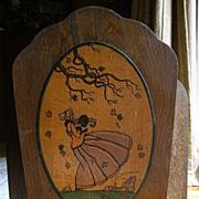 Summer Fire Screen- Quartersawn Oak with Hand Painted Motif