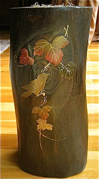 Japanese Ikebana Kiri Wood and Lacquer Vase