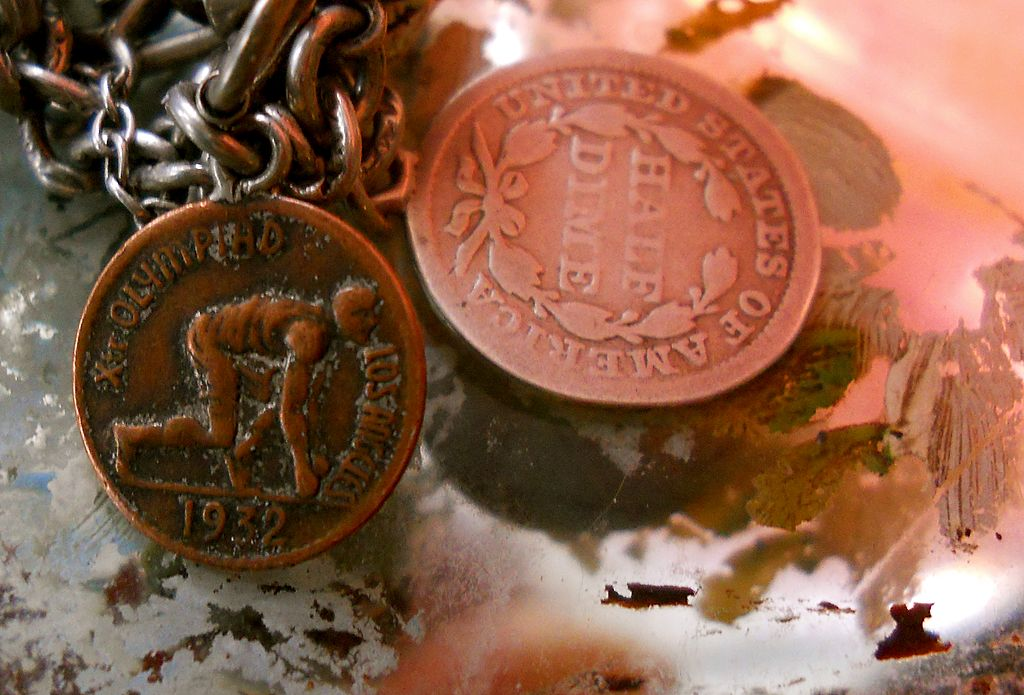 Antique Silver Half Dime Coin Charm 1954 and California Gold 1932 Los Angeles Charm