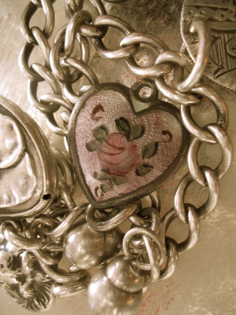 Rare Vintage Walter Lampl Sterling Guilloche Enamel Puffy Heart Charm