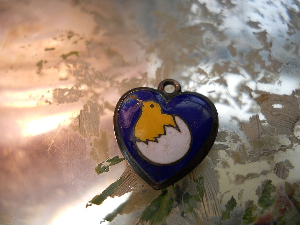 Rare Antique Sterling Enamel Chick in Egg Puffy Heart Charm