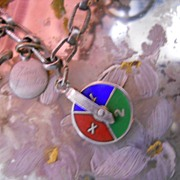 Vintage Silver Enamel Game Wheel Charm Spins