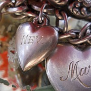"""Vintage Sterling Silver mini """"Nev"""" Puffy Heart  Charm"""