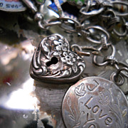 Vintage Sterling Silver Repousse Floral  Heart  Charm