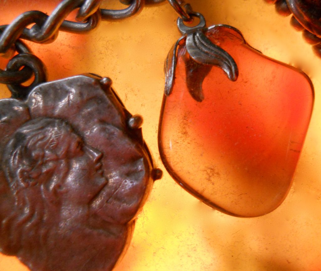 Art Nouveau Silver Smokey Quartz Strawberry Charm