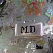 Vintage Sterling Silver Enamel MD doctor's bag Charm