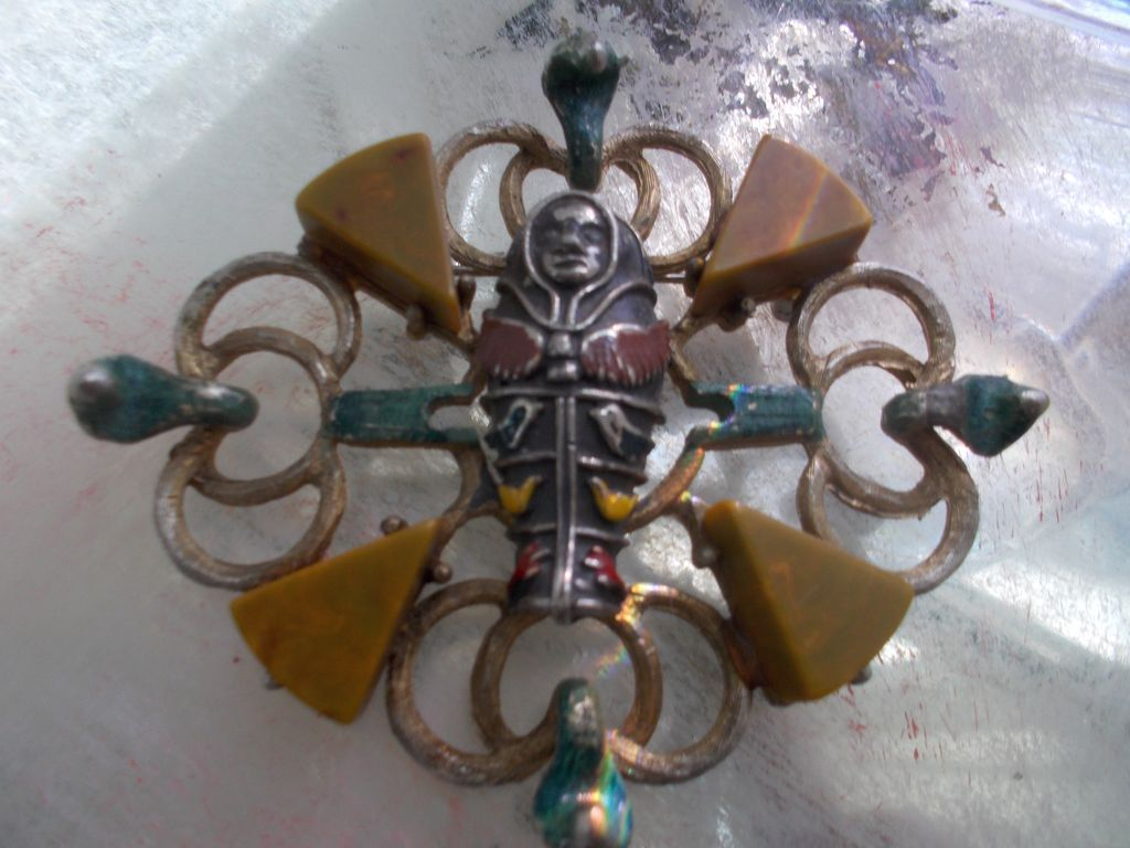 Antique Sterling Enamel Bakelite Egyptian Pin Brooch