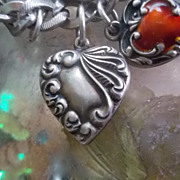 Art Nouveau Repousse  Sterling Silver Swirl  Puffy Heart Charm